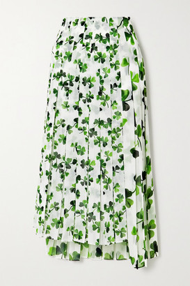 Loewe Asymmetric Pleated Printed Chiffon Midi Skirt - White