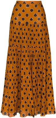 Johanna Ortiz Tiered Graphic-Print Maxi Skirt