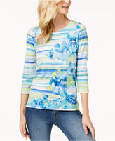 Alfred Dunner Petite Bonita Springs Watercolor Embellished Top