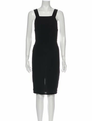 Reformation Square Neckline Midi Length Dress Black