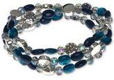 Nine West Silver-Tone Multi-Bead Three Row Stretch Bracelet