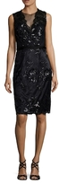 Theia Lace Embroidered Sheath Dress