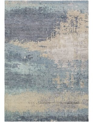 Surya Adona Abstract Hand-Knotted Aqua/Ivory Area Rug Rug Size: Rectangle 8' x 11'