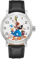 Disney Disney's Mickey Mouse, Donald Duck & Goofy Men's Leather Watch