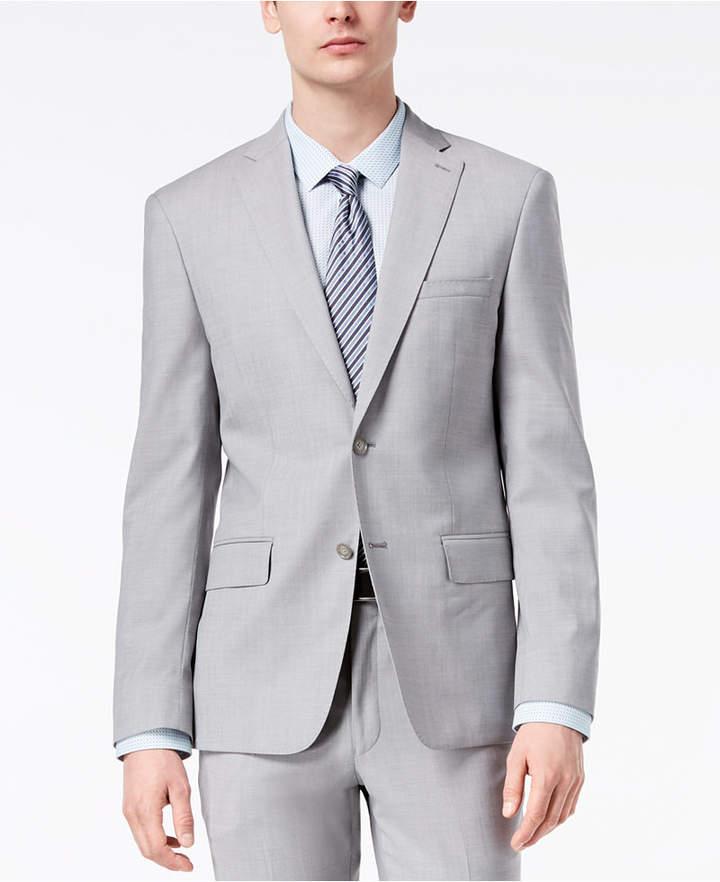 DKNY Men's Modern-Fit Stretch Gray Sharkskin Suit Jacket