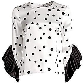 e806e224ad0a5f AMUR Women's Fern Silk Polka Dot Blouse