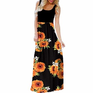 Rovinci Women's Dress Rovinci Women's Boho Floor-Length Dress O-Neck Sleeveless Cold Shoulder Tank Dress Ladies Bohemian Swing Vintage Casual Maxi Dress Floral Printed Daily Summer Holidays Beach Long Dress