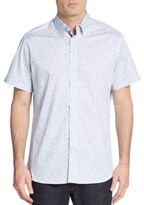 Saks Fifth Avenue Regular-Fit Floral Leaf-Print Cotton Sportshirt
