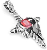 """Urban Jewelry Vintage Royalty Mens Cross Stainless Steel Red Cubic Zirconia Necklace Pendant, Silver, 21"""" Chain"""