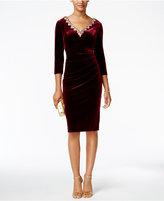 Alex Evenings Petite Embellished Velvet Sheath Dress
