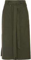 Tibi Belted Twill Midi Skirt - Army green