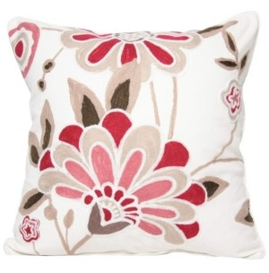 """Manor Luxe Floral Crewel Emboridery Pillow Collection, 18"""" x 18"""""""