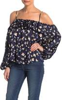 Love Stitch Blouson Cold Shoulder Floral Blouse