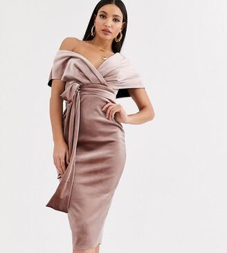 Asos Tall DESIGN Tall velvet fallen shoulder midi pencil dress with tie detail-Beige
