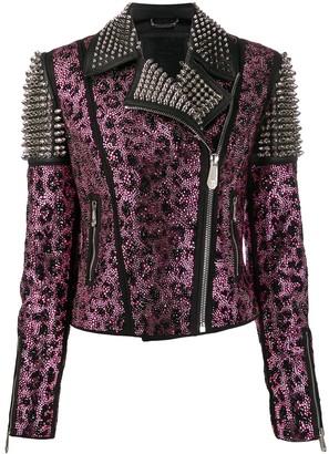 Philipp Plein Paradise studded biker jacket