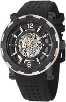 Stuhrling Original Sthrling Original Mens Gold-Tone Bezel Black Silicone Strap Skeleton Automatic Watch