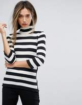 Sisley High Neck Stripe Ribbed Knit Top