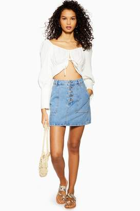 Topshop Womens Blue Denim Button Mini Skirt - Mid Stone