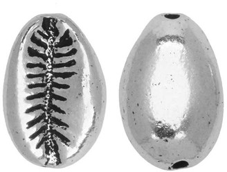 Overstock Pewter Bead, Cowrie Shell 14x9mm, Antiqued Silver Plated, 2 Pieces, by TierraCast