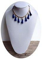 Line & Dot Dot & Line blue tassel fringe choker blue beads strands necklace (blue tassel)