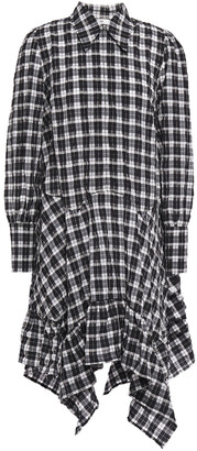 Ganni Charron Asymmetric Checked Cotton-blend Seersucker Shirt Dress