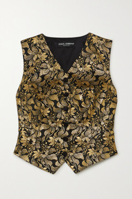 Dolce & Gabbana Metallic Floral-jacquard And Silk-blend Satin Vest - Gold