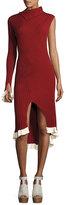 Esteban Cortazar Knit One-Sleeve Asymmetric Dress, Henna