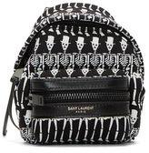 Saint Laurent Men's Mini Skeleton Print Backpack Keyring Black