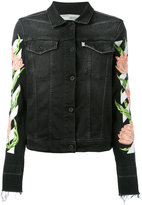Off-White rose embroidered denim jacket - women - Polyester/Cotton/Spandex/Elastane - S