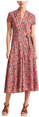 Lauren Ralph Lauren Floral Crepe Midi Dress (Red Multi) Women's Clothing