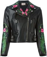 Christopher Kane floral embroidered biker jacket