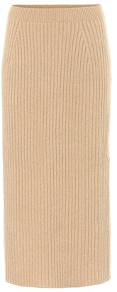 Loro Piana Tribeca ribbed-knit cashmere midi skirt