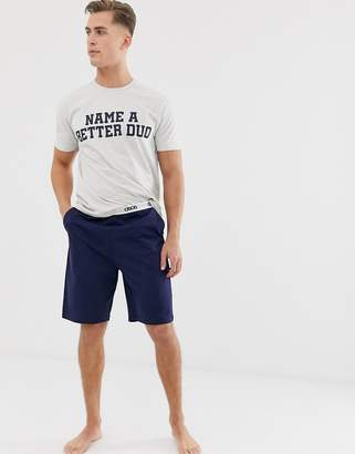 Asos Design DESIGN lounge short and tshirt pyjama set with 'name a better duo' slogan-Gray