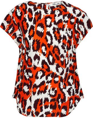 Diane von Furstenberg Nellie Printed Silk-crepe Top
