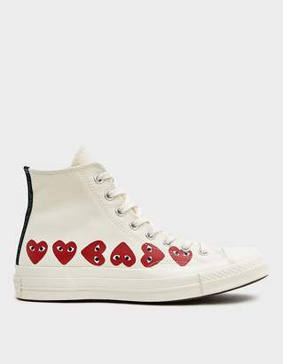 Comme des Garcons Play Converse High Multi Heart Sneaker in Off White