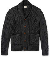 Faherty Shawl-collar Indigo-dyed Cable-knit Cotton Cardigan