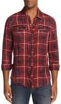 John Varvatos Plaid Snap-Front Slim Fit Shirt