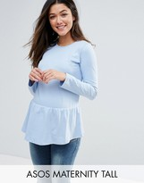 Asos TALL Top with Exagerated Ruffle Hem and Long Sleeve