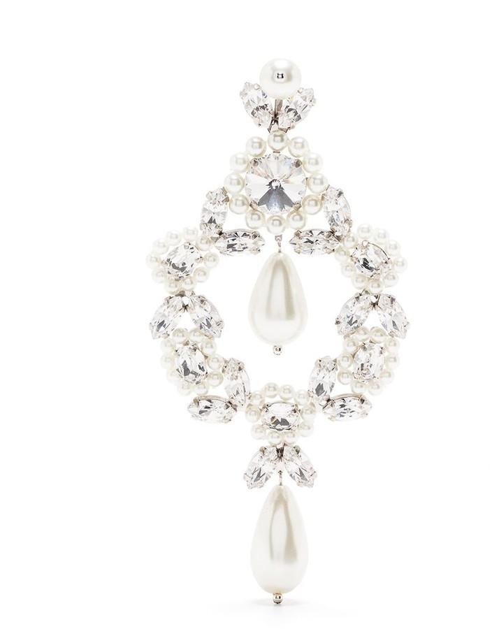 Simone Rocha Faux-Pearl Crystal Drop Earrings