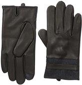 Calvin Klein Men's Mixed Media Stripe Leather Glove with Touchscreen Technology