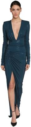Alexandre Vauthier Long Embellished V Neck Jersey Dress