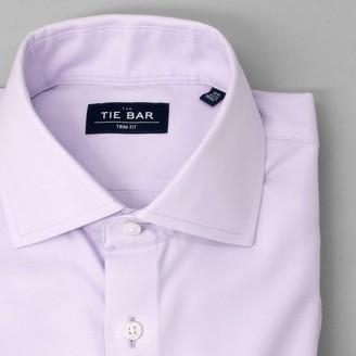 Tie Bar Textured Solid Lavender Non-Iron Dress Shirt