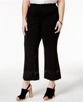 INC International Concepts Plus Size Cropped Laser-Cut Pants, Only at Macy's
