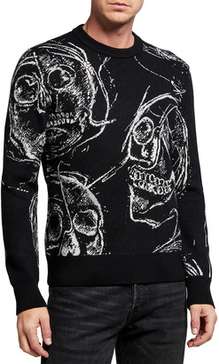 Alexander McQueen Men's Skull-Print Crewneck Sweater