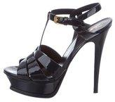 Saint Laurent Patent Leather Platform Sandals w/ Tags