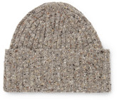 Drakes Drake's - Ribbed Donegal Merino Wool Beanie - Beige