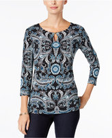 Charter Club Petite Printed Keyhole Top, Only at Macy's