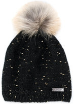 Norton Co. racoon fur pom pom flecked hat