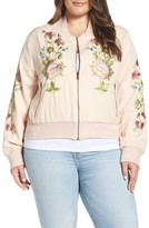 Glamorous Plus Size Women's Floral Embroidered Bomber Jacket