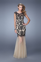 La Femme 21286 Embroidered Illusion Bateau Trumpet Dress